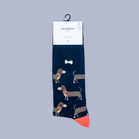 28289373498c6 Men's All Over Dogs Dress Socks 2pk - Goodfellow & Co™ Black 6-12 : Target