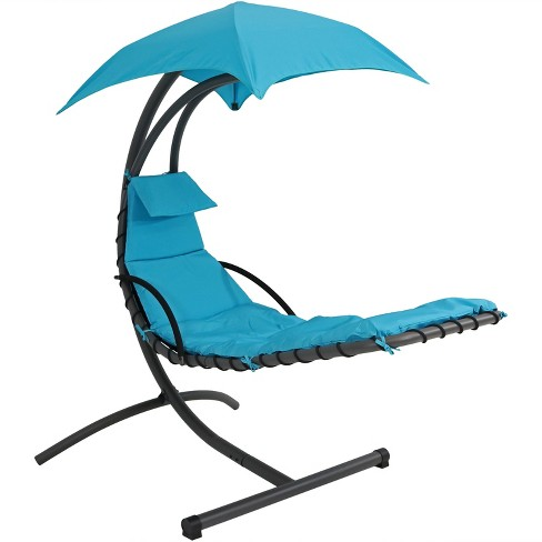 Hanging Chaise Lounge Chair with Canopy Umbrella - Teal - Sunnydaze Decor - image 1 of 6