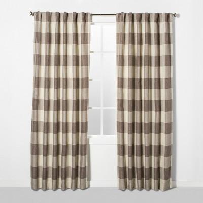 84 x52  Larkhall Plaid Blackout Window Curtain Panel Brown/Cream - Eclipse