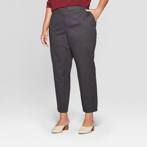 ab158ac191162 Women s Plus Size Chino Pants - Ava   Viv™ Dark Gray 14W   Target