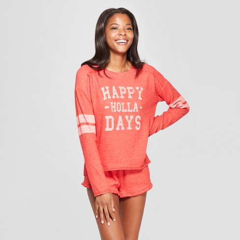 Grayson Threads Women's Holiday Happy Holla Days Super Soft Pajama Set - Red - image 1 of 2