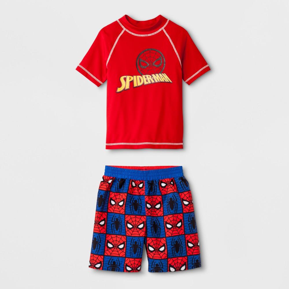 Toddler Boys' Marvel Spider-Man Rash Guard Set - Red 2T, Multicolored