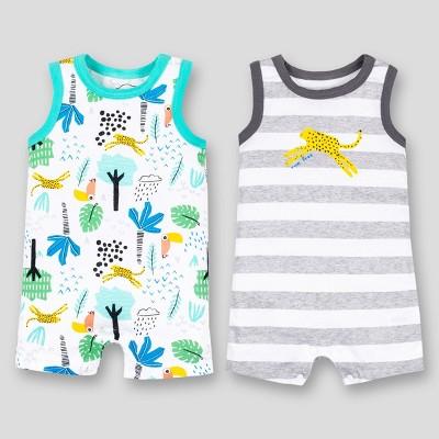 Lamaze Baby Boys' 2pk Cheetah Stripes Sleeveless Organic Cotton Romper - Aqua/White/Gray Newborn