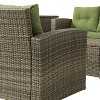 6pc Wicker Rattan Patio Sofa Set with Green Cushions - Accent Furniture - image 3 of 4