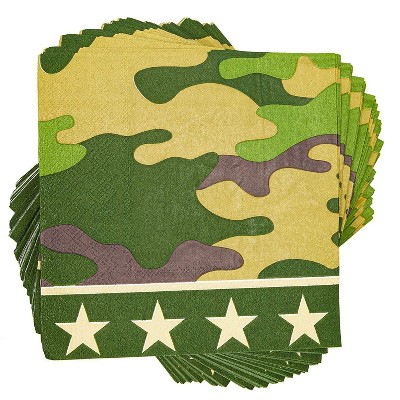 "Blue Panda 100-Pack Green Camo Disposable Paper Napkins 6.5"" Birthday Party Supplies"