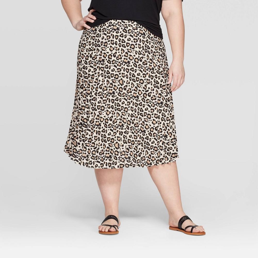 Women's Plus Size Leopard Print Pleated Midi Skirt - Ava & Viv Brown 1X