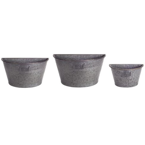 """Melrose 12"""" Rustic Half Tub Containers Hanging Outdoor Wall Planters 3pc - Gray - image 1 of 2"""