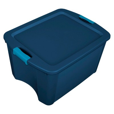 Sterilite 18 Gal Latch & Carry Tote Blue with Blue Latches