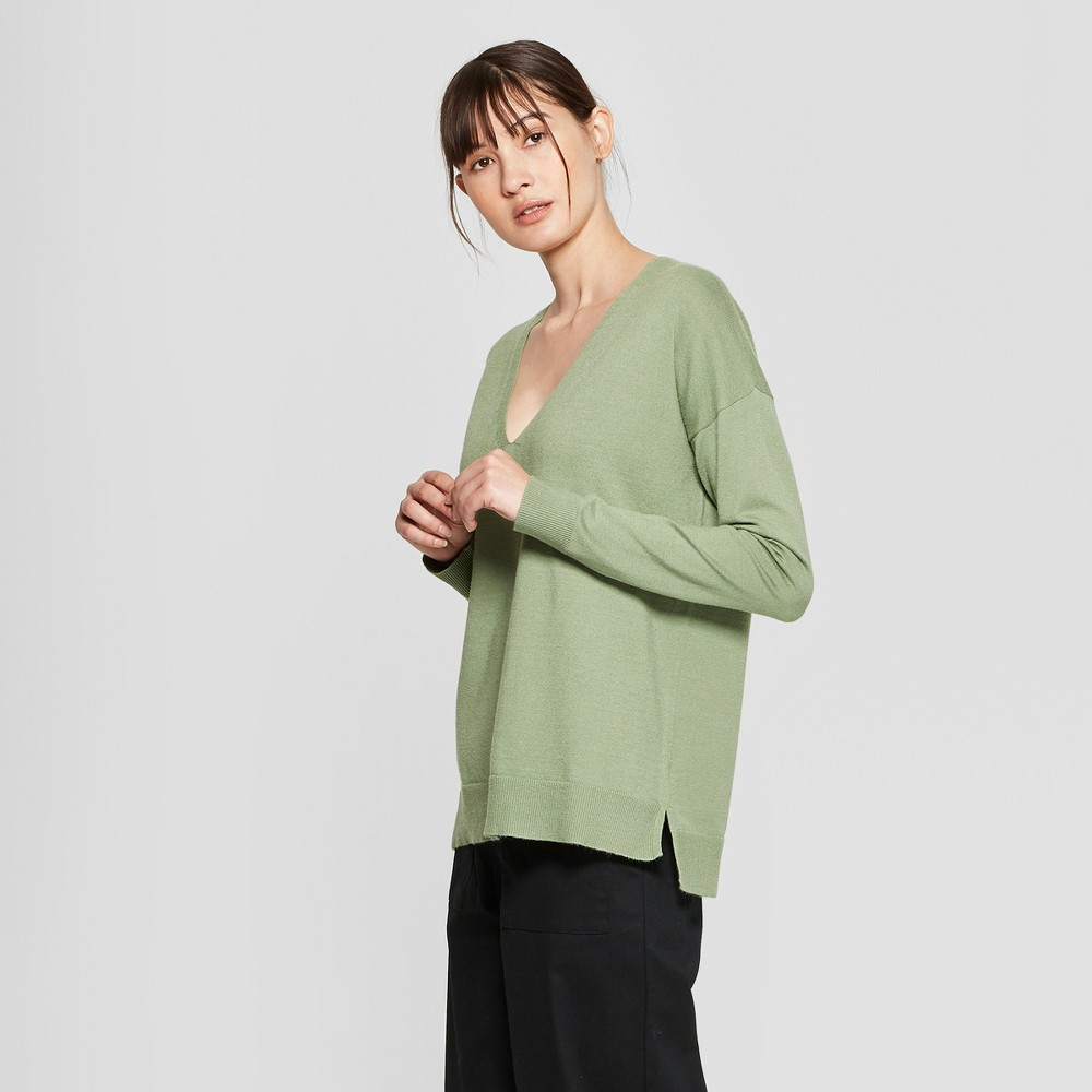 Women's Long Sleeve V-Neck Pullover Sweater - Prologue Green M