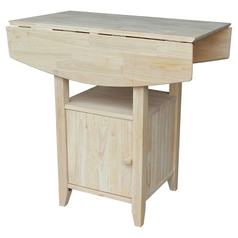 Bar Height Dual Drop Leaf Bistro Table Unfinished International
