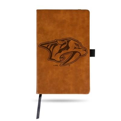 NHL Nashville Predators Laser Engraved Brown Leather Padfolio