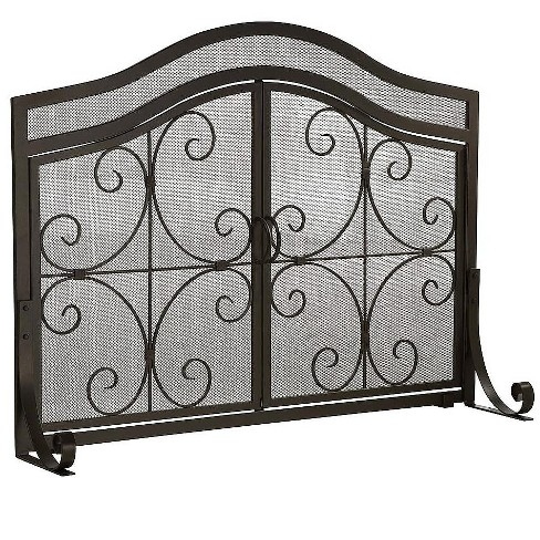 Plow Hearth Large Crest Fireplace Fire Screen With Doors 44 W X 33 H At Center Target