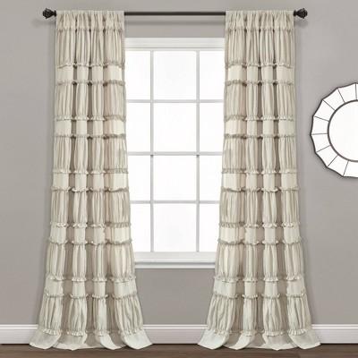 Set of 2 Nova Ruffle Light Filtering Curtain Panels - Lush Décor