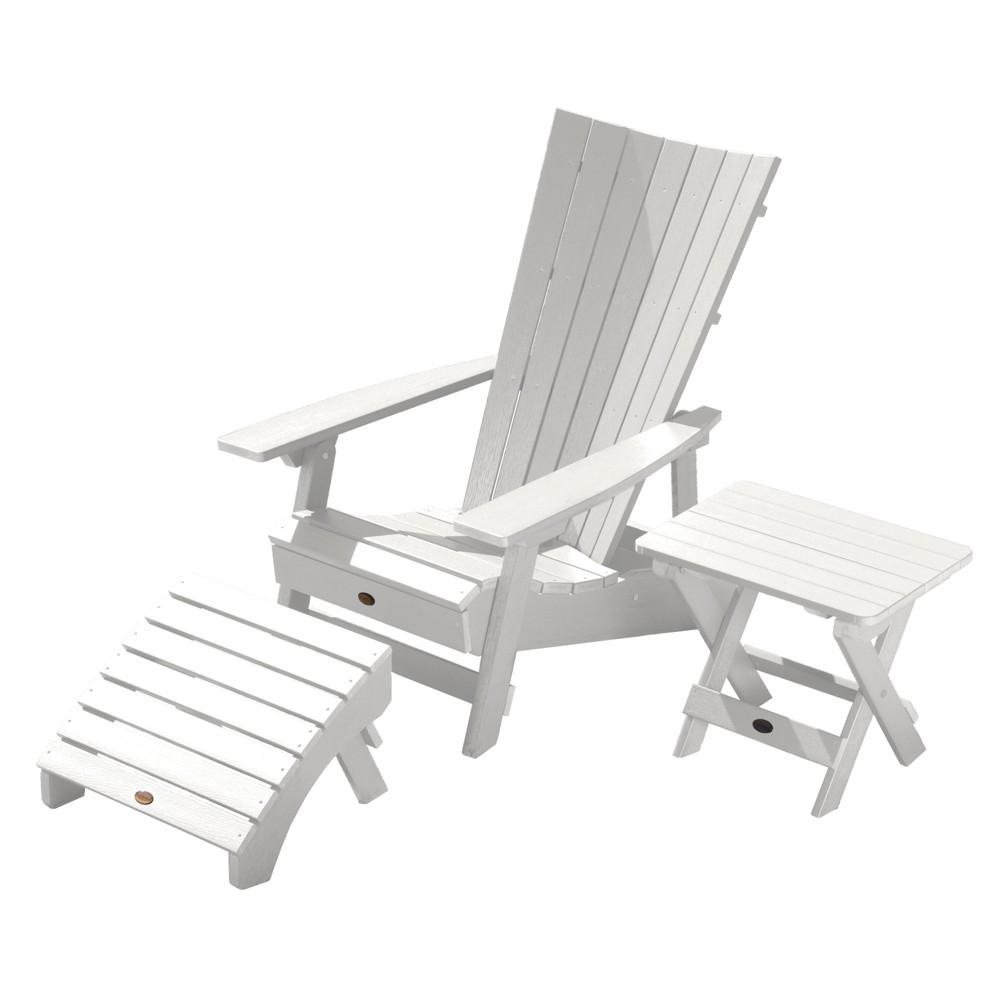 Manhattan Beach Adirondack Chair with Folding Adirondack Side Table & Ottoman White - Highwood