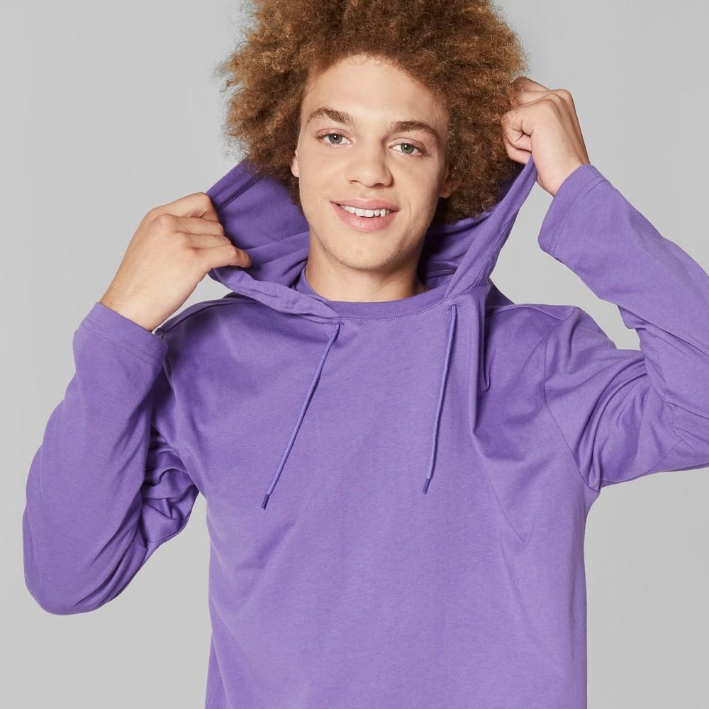 Men's Long Sleeve Hooded Pullover T-Shirt - Original Use Mountain Purple L