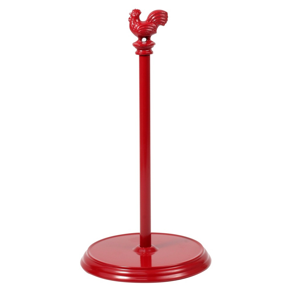 Red Rooster Paper Towel Holder - Red The Rooster Paper Towel Holder is a great way to store and display your paper towels. The sturdy padded base protects countertops from scratches, while the removable rooster cast iron finial easily unscrews to change rolls. Made of sturdy steel. Color: Red.