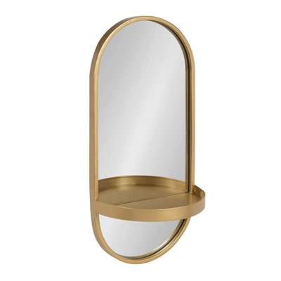 "11"" x 24"" Estero Metal Wall Mirror with Shelf Gold - Kate and Laurel"