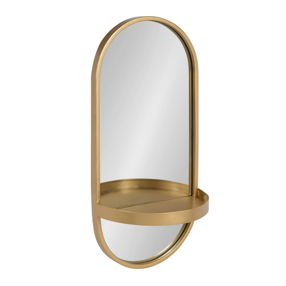 "Image of ""11""""x24"""" Estero Metal Wall Mirror with Shelf Gold - Kate and Laurel"""