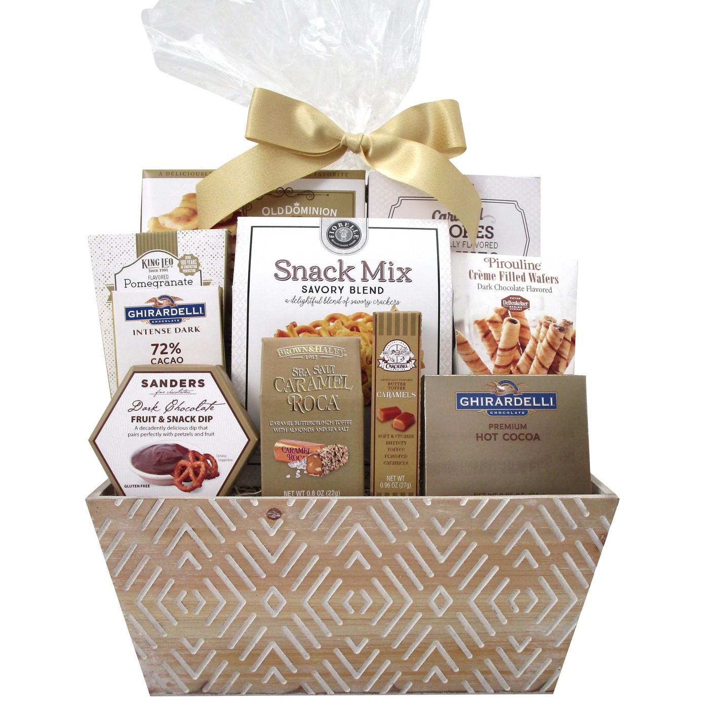 Christmas Etched Wood Whitewash Gift Basket - 26.39oz - image 1 of 1
