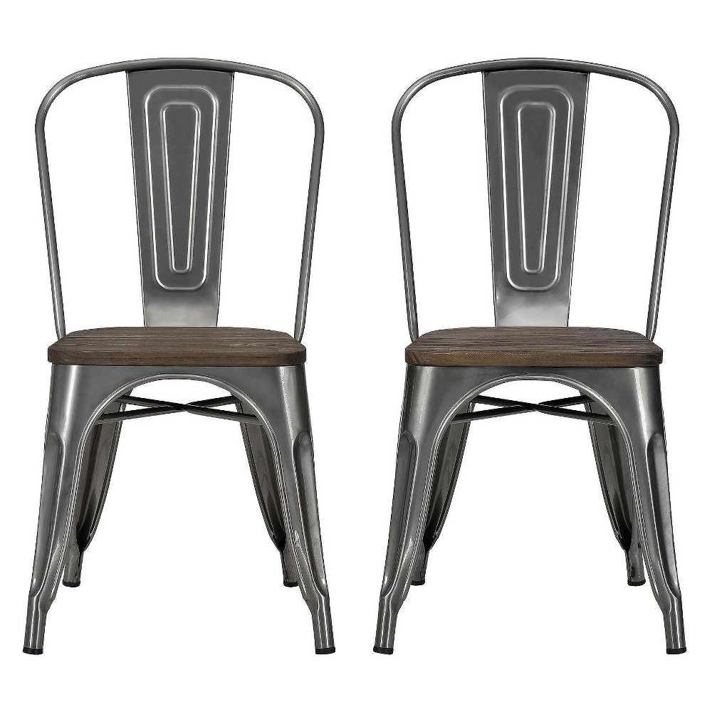 2pc Fusion Square Dining Table Set - Antique Gunmetal (Grey) - Dorel Home Products