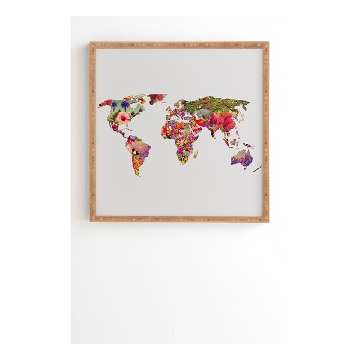 Bianca Green Its Your World Framed Wall Art 12  x 12  - Deny Designs