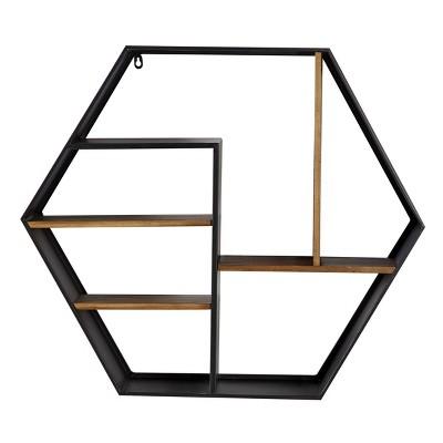 "29.5""x 25.75"" Metal and Wood Octagon Wall Shelf Black - Olivia & May"