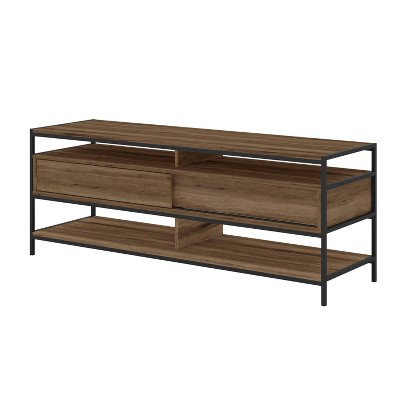 """58"""" Wood and Metal Entertainment TV Stand with 2 Drawers for TVs up to 58"""" Brown/Black - The Urban Port"""