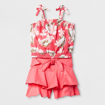 Toddler Girls' Smocked Print Top and Tie Front Shorts Pink 2T