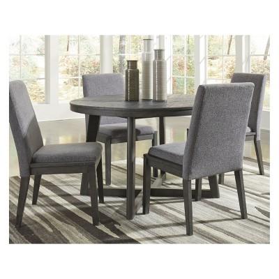 Besteneer Round Dining Room Table Dark Gray   Signature Design By Ashley