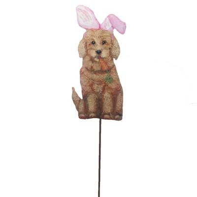 """Home & Garden 31.5"""" Easter Golden Doodle Bunny Carrot Round Top Collection  -  Decorative Garden Stakes"""