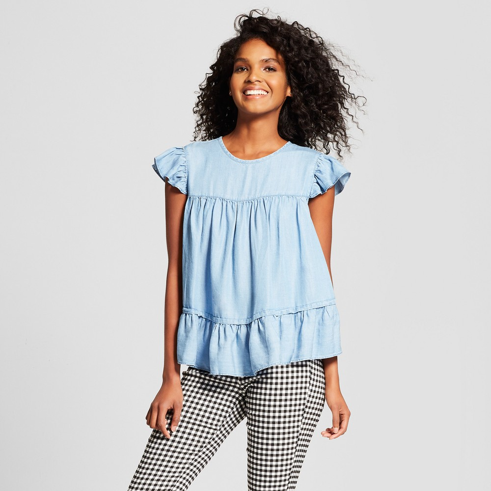 Women's Short Sleeve Babydoll Pullover Blouse - Who What Wear Chambray L