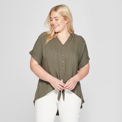 Women's Plus Size Tie Front Short Sleeve Blouse - Universal Thread™ - image 1 of 3