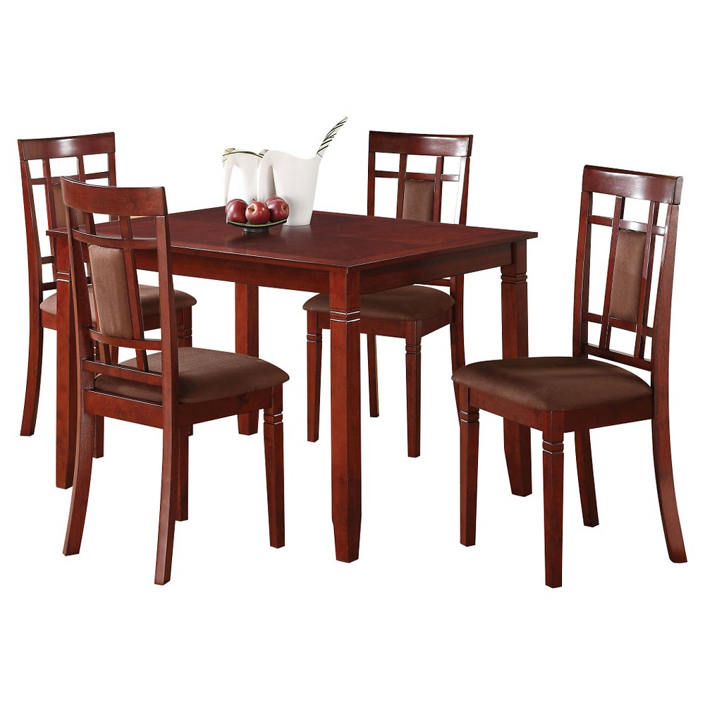 5 Piece Sonata Dining Set Wood/Cherry Chocolate Microfiber - Acme Furniture 5 Piece Sonata Dining Set Wood/Cherry Chocolate Microfiber - Acme Furniture Color: Red. Gender: unisex.