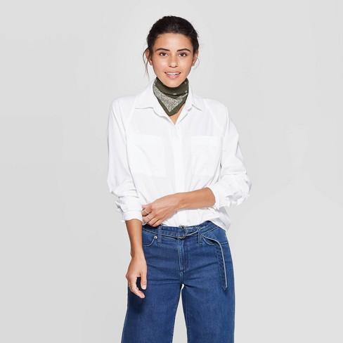 Women's Long Sleeve Boyfriend Shirt - Universal Thread™ White - image 1 of 3