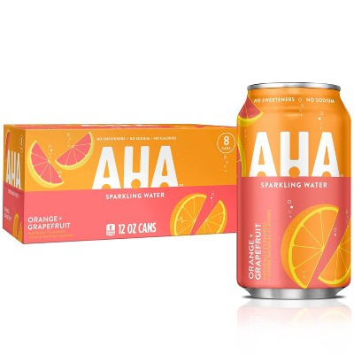 AHA Orange + Grapefruit Sparkling Water - 8pk/12 fl oz Cans