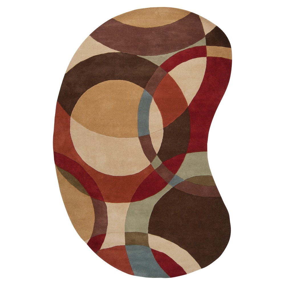 Gavar Area Rug - Tan, Dark Brown - (6' x 9' Kidney) - Surya