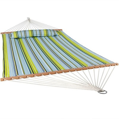 Quilted Double Fabric Hammock - Blue/Green Stripe - Sunnydaze Decor