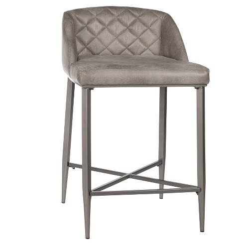 Set of 2 Phoenix Non - Swivel Counter Height Stools Gray - Hillsdale Furniture - image 1 of 4