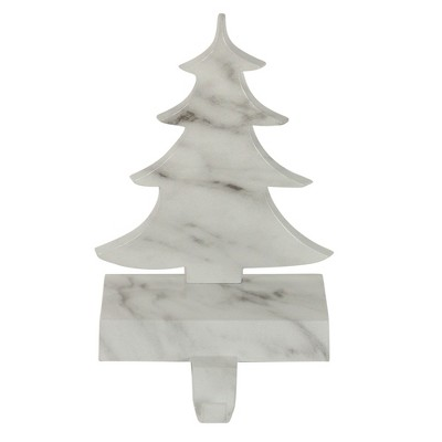 """Northlight 8"""" White and Black Marbled Christmas Tree Stocking Holder"""