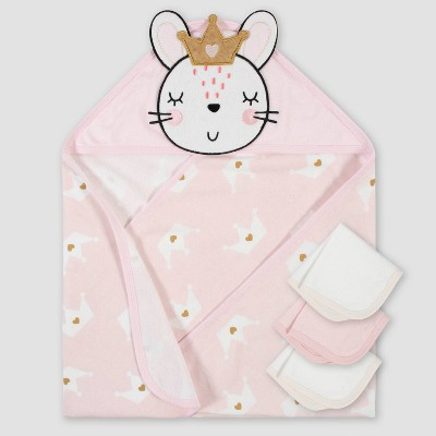 Gerber Baby Girls' 4pc Bunny Bath Towel and Washcloth Set - Pink