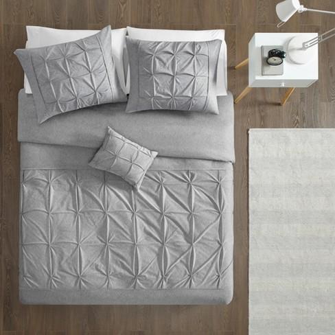 4pc Full Queen Leila Tufted Duvet Cover Set Gray Target