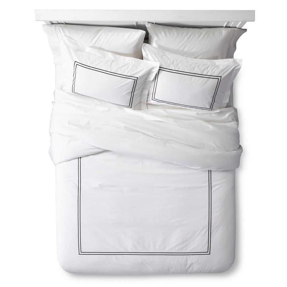 Classic Hotel Comforter Set (King) White&Black 3pc - Fieldcrest