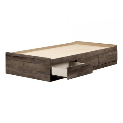 Full Asten Mates Bed with 3 Drawers   Fall Oak  - South Shore