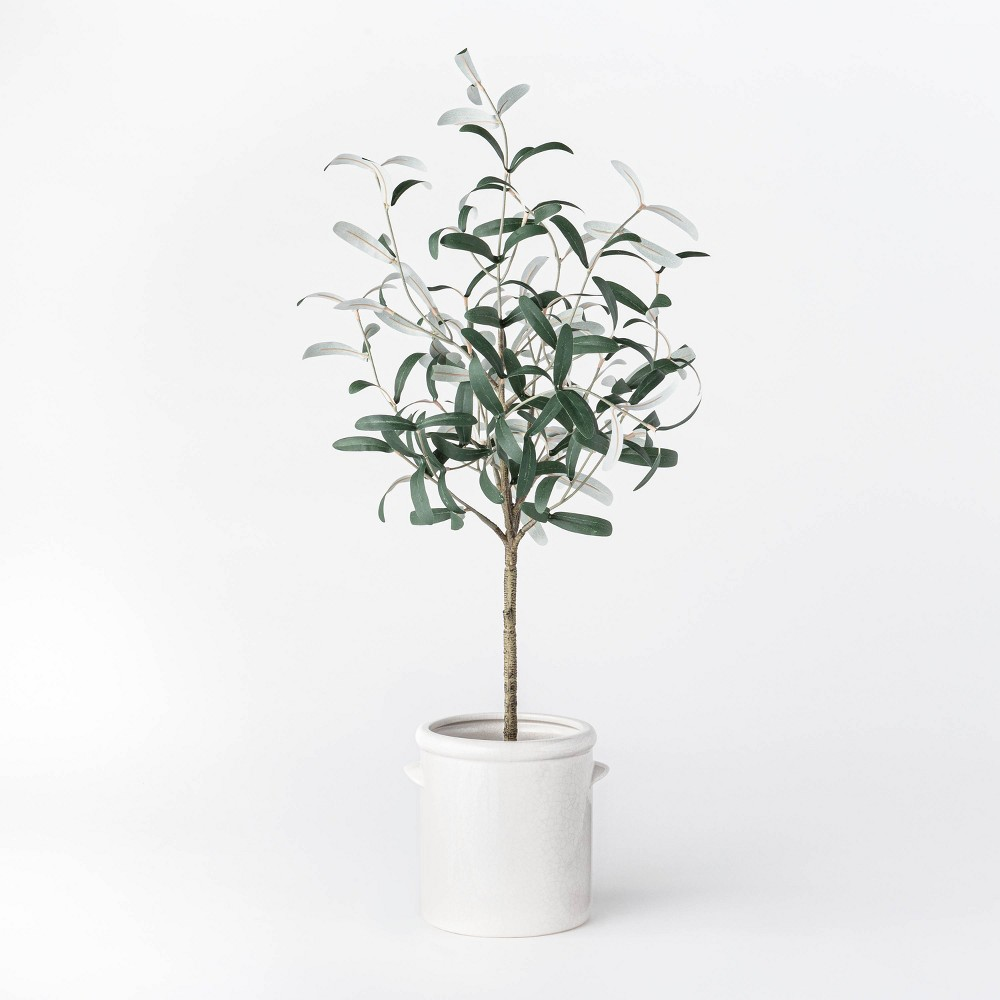 "Image of ""28.5"""" Artificial Olive Tree in Pot Green/White - Threshold designed with Studio McGee"""
