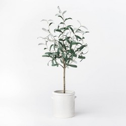 "28.5"" Artificial Olive Tree in Pot Green/White - Threshold™ designed with Studio McGee"