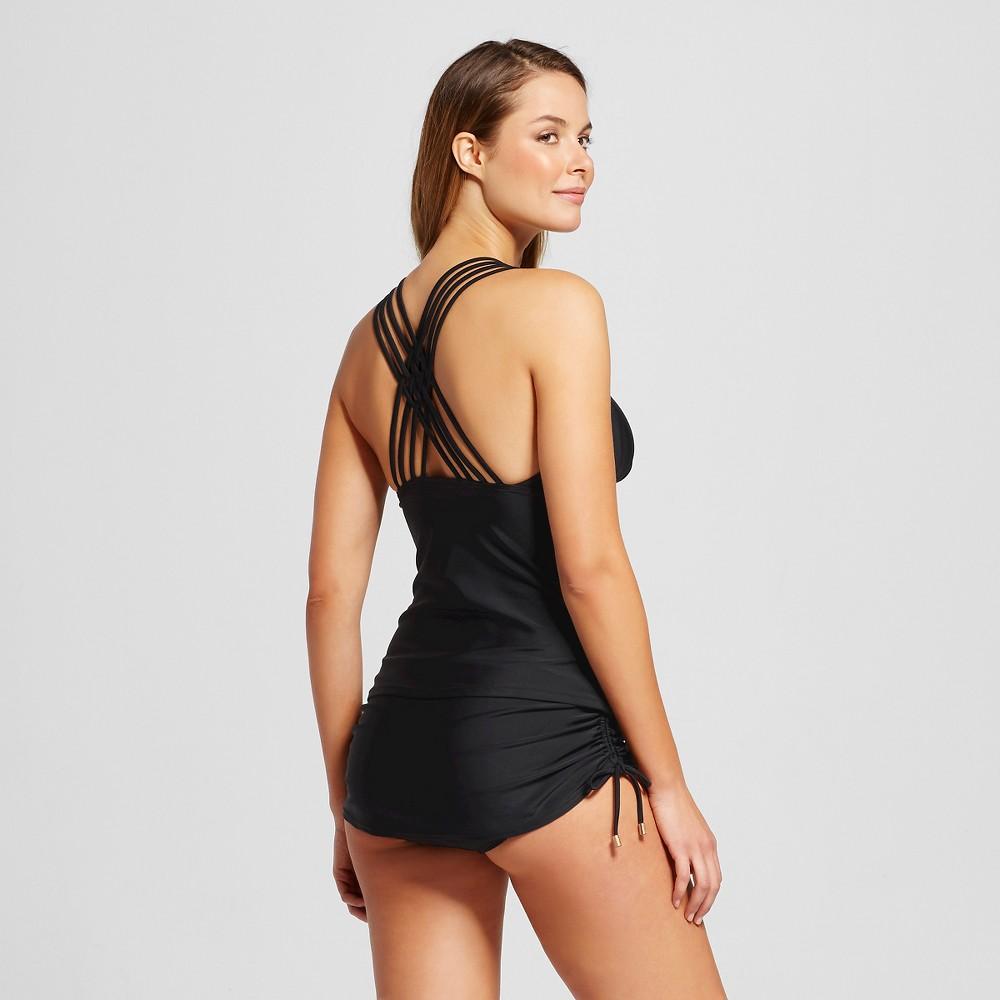 Women's Shirred Strappy Back Tankini Top - Black - L - Merona