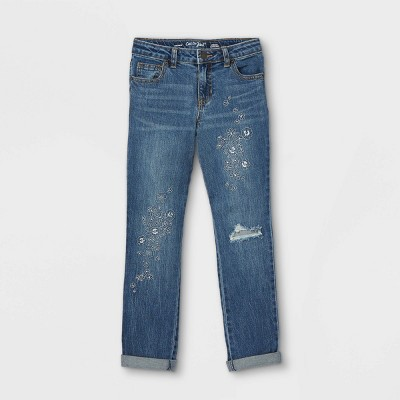 Girls' Embroidered Floral Girlfriend Mid-Rise Jeans - Cat & Jack™