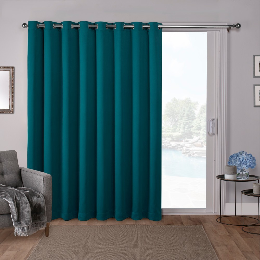 "Image of ""100""""x84"""" Sateen Blackout Solid Grommet Top Extra Wide Curtain Panel Teal - Exclusive Home"""
