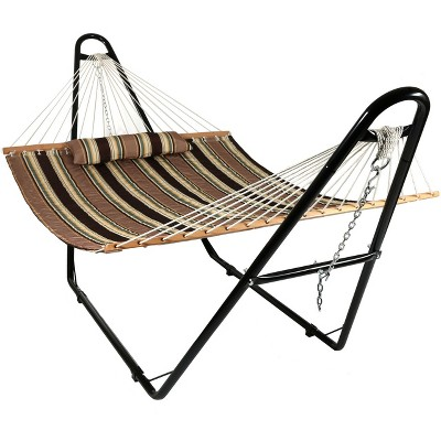 Sandy Beach Quilted Double Fabric Hammock and Multi-Use Stand - Brown/Tan Stripe - Sunnydaze Decor