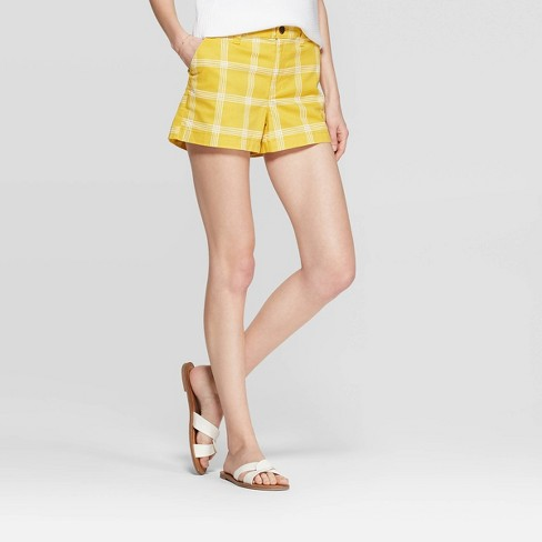 Women's Plaid High-Rise Chino Shorts - A New Day™ Yellow - image 1 of 3
